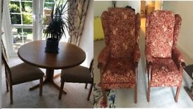 Dining table & chairs + 2 arm chairs for sale