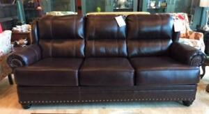 NEW Leather Sofa with Nail-head Accents. In Stock!  On Sale for $995!