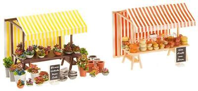 HO Faller 180614 Farmer's Market CHEESE and FLOWER STANDS with Accessories KIT