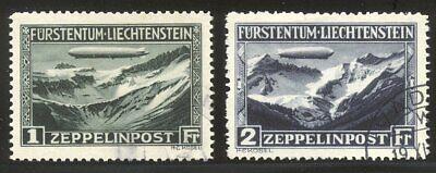 LIECHTENSTEIN #C7-8 Used - 1931 Zeppelin Set ($525)