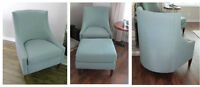 Retro style accent living room chairs and ottoman 3 years old