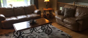 Leather sofa set and 3 piece coffee table set