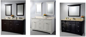 "60"" VANITY DOUBLE SINK WITH STONE TOP"