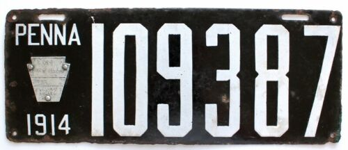 Pennsylvania 1914 Porcelain License Plate, 109387, Antique, Sign