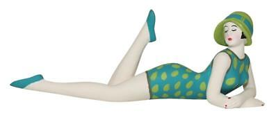 Bathing Beauty Figurine Figure in Turquoise Suit W/ Lime Green Sun Hat Small