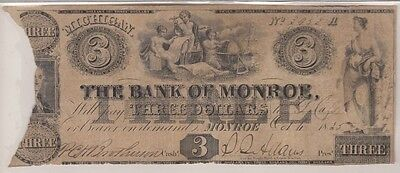 1835 The Bank Of Monroe Three Dollar Banknote  Elusive   Rare In Any Condition