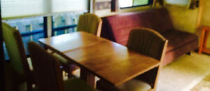 Oak dining/kitchen table with four chairs or  brown/crome futon