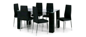 Glass dining room table 6 chairs with black leather