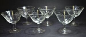 6 HUGHES CORNFLOWER STEMWARE GLASS FOOTED LOW SHERBERT TUMBLERS