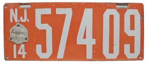 New Jersey 1914 PORCELAIN License, 57409