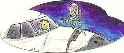2017 Topps Mars Attacks The Revenge ! Die-Cut Shaped Sketch by Eric Kowalick
