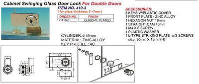 Chrome Lock Cabinet Double Swinging Glass Door Keyed Alike C410-3-110