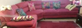 URGENT MUST GO ASAPSterling Furniture Stunning deep pink corner sofa less than 1yr old REDUCED