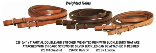 """Tory Leather 3/4"""" Weighted Reins Buckle Ends Bridle Leather - 3 Colors #226 NEW"""