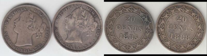2 NEWFOUNDLAND BETTER DATE 20 CENT PIECES 1885 & 1888 BOTH FINE