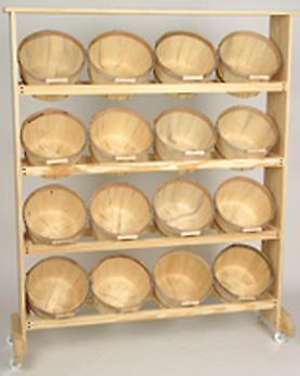 Wood Display with 16 One Peck Baskets Natural Wood Casters NOT Included