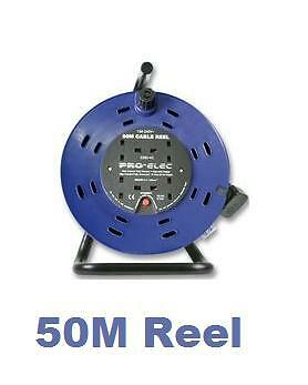 50M MAINS POWER EXTENSION CABLE REEL 240V FREESTANDING 13A 4 SOCKET GANG