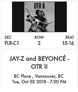 Beyonce Jay-Z OTR II -DJ Khaled - Floor Seats (BELOW COST)