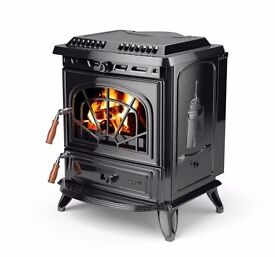 Stanely Erin Enameled Multi-Fuel Stove w/ Back Boiler. 9 Radiators