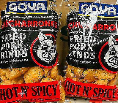 2Pk Goya Chicharrones Hot N' Spicy Pork Rinds Skins *~* FAST FREE SHIPPING ! *~*