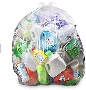 60 x Clear Refuse Sacks Strong Bin Liners Large Recycling Bin Bags 100L