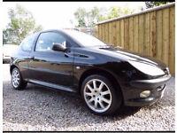Peugout 206 Lx, 3 Door, Gorgeous in Black, Low miles, Fabulous Condition,GTI Alloys,New 12 Month MOT