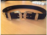 Double buckle belt - black & gold