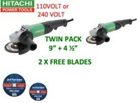 HITACHI ANGLE GRINDER TWIN PACK 230MM & 115MM + FREE BLADES