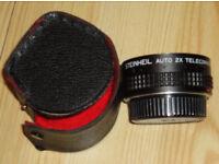 Pentax PK K Bayonet Fit Auto 2x Tele Teleconverter Lens and Case. Made by Steinheil