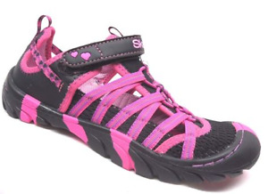 Size 1 Skechers Summer Steps Summer Sandals Black/Hot Pink