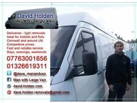 Falmouth based, surrounding areas covered, Cornwall, national. Man and van service, light removals.