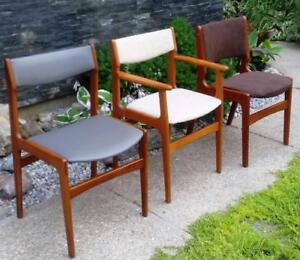 Anderstrup Danish Mid Century Modern Solid Teak Dining Chairs REUPHOLSTERED REFINISHED sets of 4 and 6