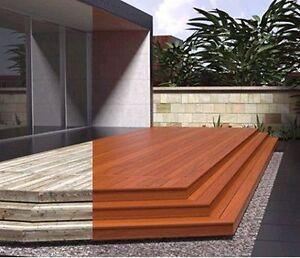 Deck Veneer Wood Covering Gray.