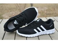Cloth trainers in black, blue or white