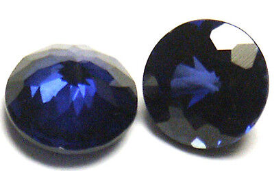 Nice 7 mm Round Double Brillant Blue Created Sapphire