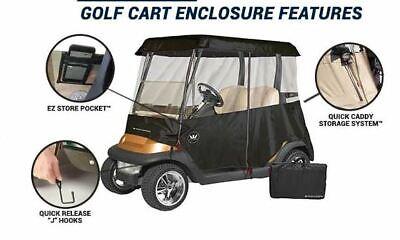 EZGO Premium Drivable 2 Person Golf Cart Enclosure Cover Color: BLACK
