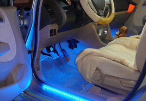LED Car Strip x 2 Under Light Neon Footwell Flexible interior waterproof - Blue