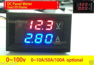 Digital Led Voltmeter Ammeter Meter Dc Panel Voltage Current Monitor 12v 24v Car