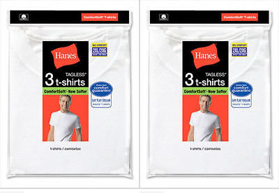 6 Hanes Big Mens White Crew Neck T-Shirt Undershirt Value Pack 2XL-3XL Best