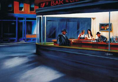 Hip Hop Cafe Poster Biggie 2Pac Aaliyah In Style of Nighthawks by Edward (Nighthawks Hopper)