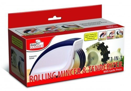 Rolling Mincer & Tenderizer Garlic Press 3in1 Mince Tenderize Stainless Steel Cooking Utensils