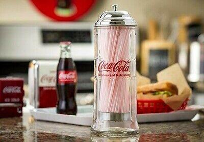 Vintage Coca Cola Straw Dispenser Glass Holder Jar Coke Bottle Soda Drink Diner (Straw Jar)