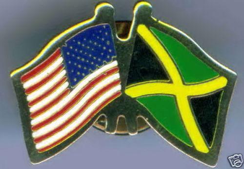 Jamaica / USA Dual Flag Lapel / Hat Pin NEW