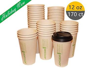 12OZ Disposables Hot  Paper Coffee 100% Bamboo Fiber Cups-With lids 170 Counts  (12 Oz Cups)