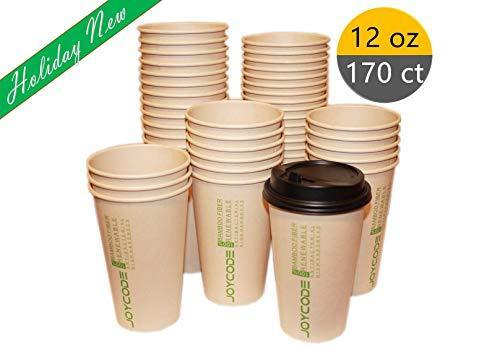 12OZ Disposables Hot  Paper Coffee 100% Bamboo Fiber Cups-With lids 170 Counts