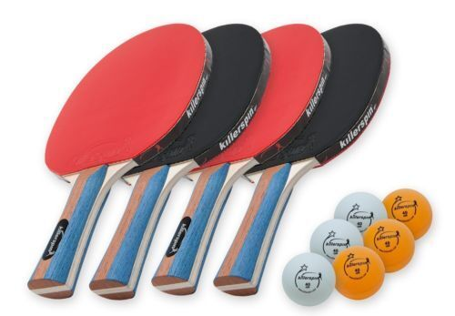 Killerspin JETSET 4 Table Tennis Paddle Set with 6 Balls 110-09