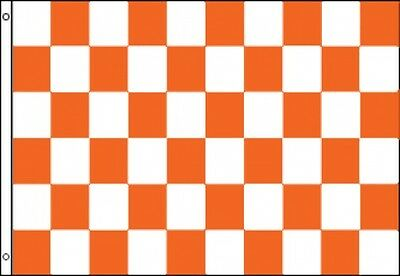 3'x5' Checkered Flag Orange & White Outdoor Indoor Banner Pennant Sports New 3X5 Checkered Outdoor Pennant Banner