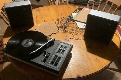 Philips 614 turntable (Hi-fi) and speakers (vintage - 1970s)