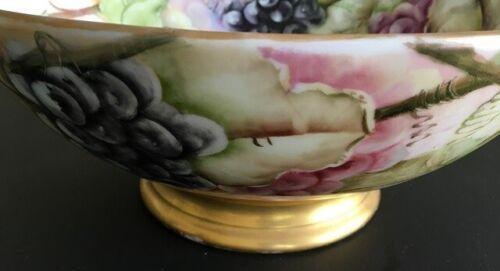 Antique French Porcelain Limoges Punch Bowl by Tressemanes & Vogt Artist Signed