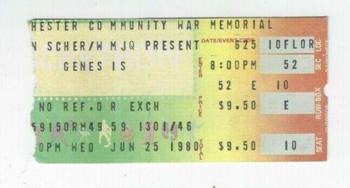 GENESIS 6/25/80 Concert Ticket Stub Rochester New York